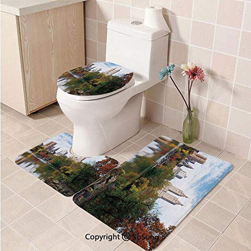 3pcs/Set City Style Soft Comfort Flannel Toilet Mat,Manhattan Central Park Panorama in Autumn Scenic Lake View Colorful Trees Reflection,Plush Bathroom Decor Mat with Non Slip Backing,Multicolor]()