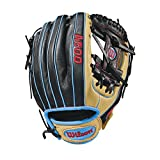 "Wilson 2018 A500 Gloves - Right Hand Throw Blonde/Black/Tropical Blue, 11.5"""
