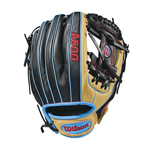 "Wilson A500 Baseball Glove, Blonde/Black/Tropical Blue, 11.5""- Right Hand Throw - Infielders Glove"