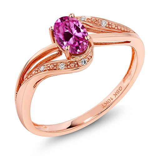 Gem Stone King 10K Rose Gold Pink Created Sapphire and Diamond Engagement Ring 0.54 Ct (Size 8) (Rose Gold And Pink Sapphire Ring)