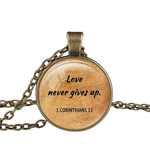 Corinthian Bronze Pendant - FM FM42 Bronze-Tone 1 Corinthians 13 Christian The Bible Religious Inspirational Quote Pendant Necklace TN2773