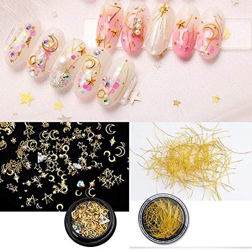(Lookathot 3D Mixed Design Nail Art Stickers Decals Metallic Studs Rhinestones Moon Star Shell Ring Chain Gold Silver Manicure DIY Decoration Tools )