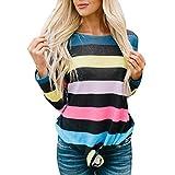 St.Dona Plus Size Women Long Sleeve Stripe Print Pullover Tie Blouse Sweatshirt Tops