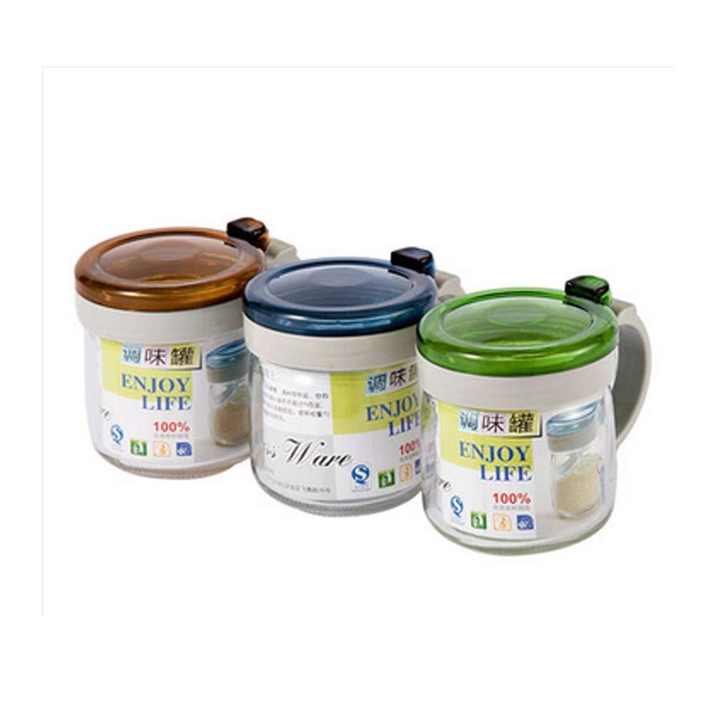 MINGRUIGONGMAO Seasoning box - 3 pieces of glass seasoning box, 3 plastic seasoning spoons, with plastic cover, suitable for home kitchen gifts. Plush toys by MINGRUIGONGMAO