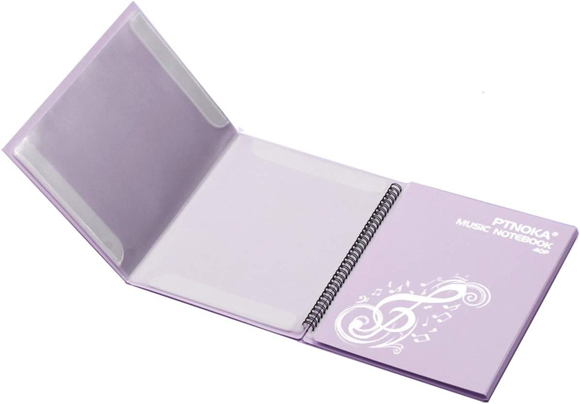 FEIQIAN Sheet Music Folders,Music Stand Accessories,Music Binder 4 Pages Expand,Spiral-Bound,10 Sleeves 40 Pockets Light Purple