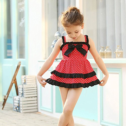 LOSORN ZPY Kid Toddler Baby Girls Bathing Suit Lace Bow Dot Two Piece Swimsuit Swimwear