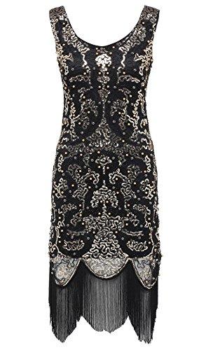 Babeyond Vestito Gatsby Donne 1920s Abiti Vestito Anni 20 Donna Flapper Dress 1920s Vestito da Sera Paillette Impreziosito Frange Gatsby Vestito Senza Maniche