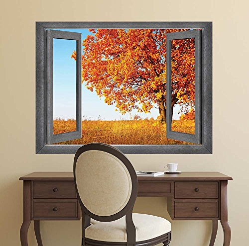 Open Window Creative Wall Decor A Field of Different Shades of Orange Wall Mural