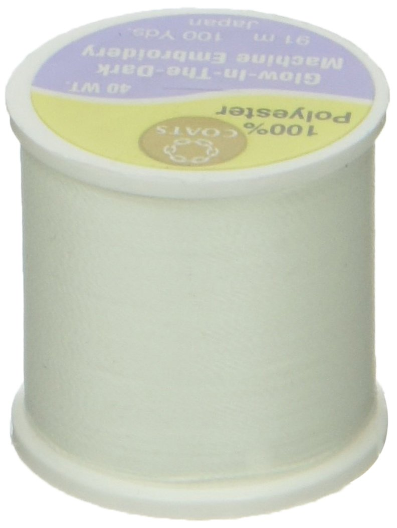 COATS & CLARK D86-01 Glow In The Dark Machine Embroidery Thread, 100-Yard, White COATS&CLARK