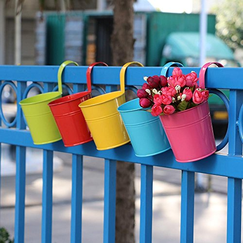 Topeakmart 10 Pack Metal Iron Flower Pot Vase Wall Fence Hanging Balcony Garden Patio Planter Ho ...