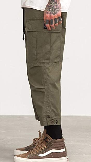 Mens Loose Fit Cotton Casual Cargo Pants Military Trouser Multi Pockets