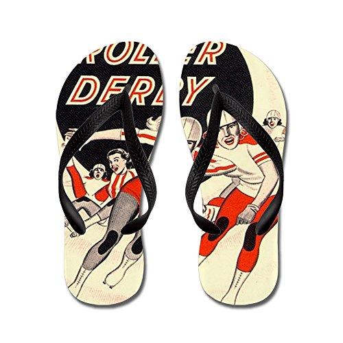 CafePress Roller Derby Advertisemnt Image Retro Derby Girl F - Flip Flops, Funny Thong Sandals, Beach Sandals Black