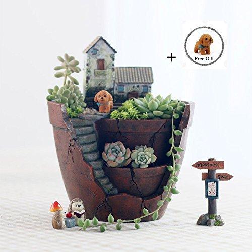 Succulent Planter Pot For Decorative Succulents Cacti Flowers Plants, Diy  Fairy Garden Container With Miniature House