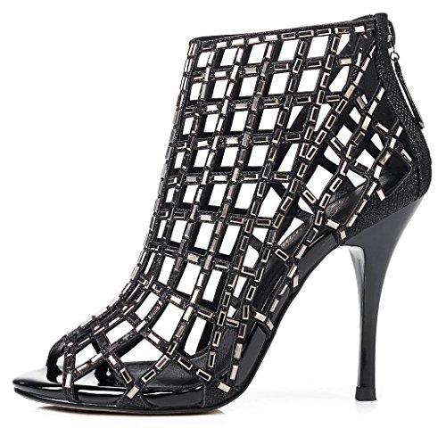 para de Sandalias de alto zapatos con LizForm bomba Negro tacón vestir mujer noche abiertas de purpurina 5UHqIw