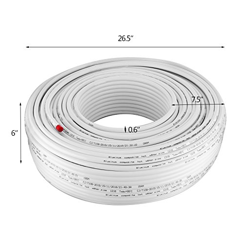 Mophorn PEX AL PEX Tubing 1/2 Inch Roll of 656 Ft 200 M Radiant Heat Tubing Nontoxic for Heating and Plumbing Hot and Cold Water Piping Radiant Floor PEX Al Tubing White by Mophorn (Image #1)