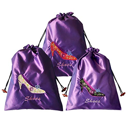 Gold Fortune 3 Packs 10.5 x 14 (L x W) Embroidered Silk Jacquard Travel Lingerie and Shoes Bags with Drawstring Closure (Purple)