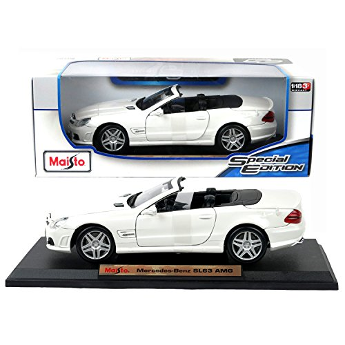 Maisto Year 2015 Special Edition Series 1:18 Scale Die Cast Car Set - White Color Convertible Coupe MERCEDES BENZ SL63 AMG with Display Base (Car Dimension: 9-1/2