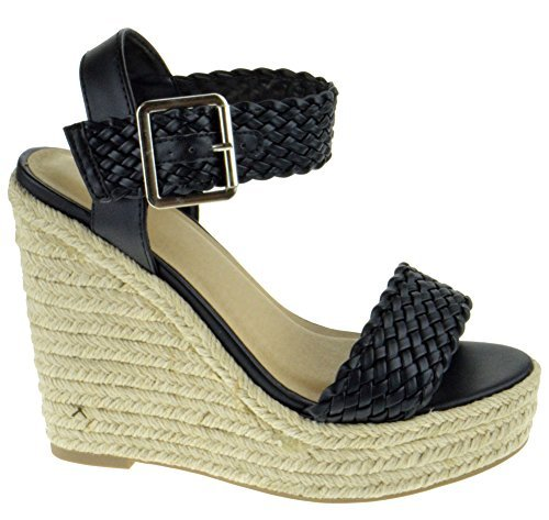 10c9332fc844 My Delicious Shoes Remain Womens Braided Strap Wedge Platform Sandals Black  5.5