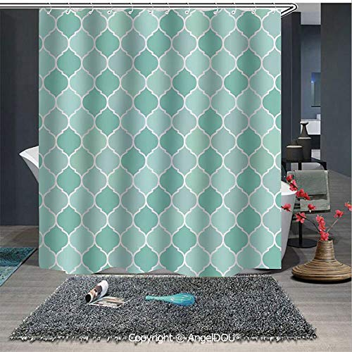 - AngelDOU Turquoise Waterproof 3D Printed Shower Curtain Lined Endless Chained European Medieval Gradient Patterns Mosaic Ceramic Illustr for Home Bathroom Decoration