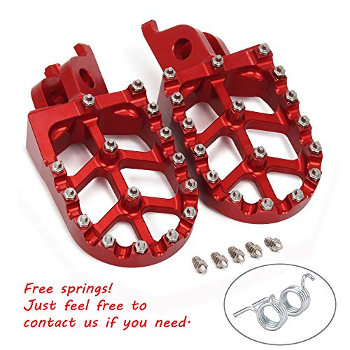 JFG RACING Red Billet MX Wide Foot Pegs Pedals Rests For For Honda CR125/250R 02-07/CRF150R 07-18 CRF250R 04-17/CRF250 X 04-17/CRF450R 02-18 CRF450RX 17-18 CRF450 X 05-17 CRF250L/M 12-17 CRF250RALLY ()