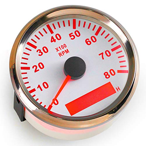 ELING Tachometer 8000RPM REV Counter with Hour Meter 85mm 9-32V with -