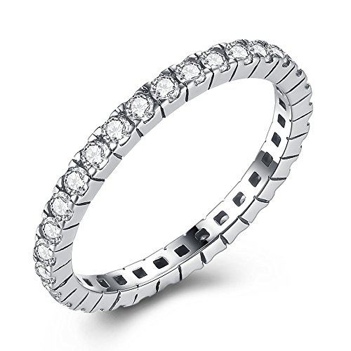 925 Sterling Silver Ring, Full Cubic Zirconia CZ Wedding Band Stackable Ring (6) (Zing Blades Replacement)