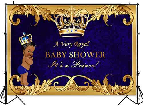 Mehofoto Royal Prince Baby Shower Backdrop Black Boy Gold Crown Photography Background 7x5ft Vinyl Little Prince Royal Blue Backdrops for Baby Shower Party