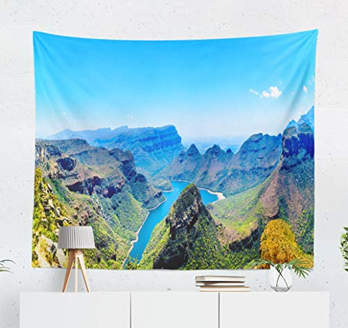 Happyome Africa Tapestry, Wall Hanging Tapestry and River Route South Africa Beautiful Wall Tapestry Dorm Home Decor Bedroom Living Room in 80