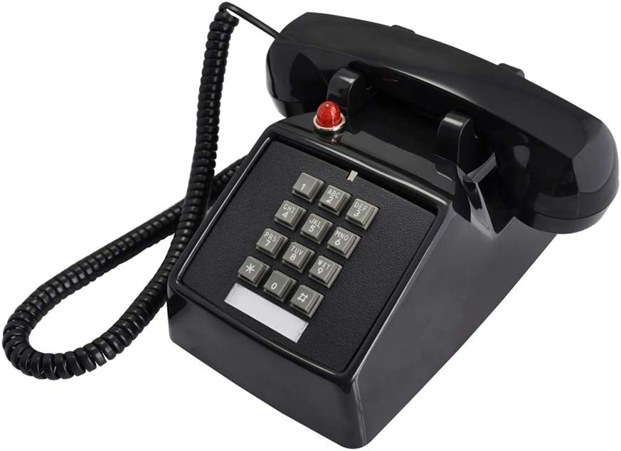 TelPal Telephones Land Line Corded Old School Phone Single Desk Hearing Impaired Landline Telephones for Seniors Old Fashion Phones for Home & Hotel Wired Telefono Antiguo Extra Loud Ring (Black)