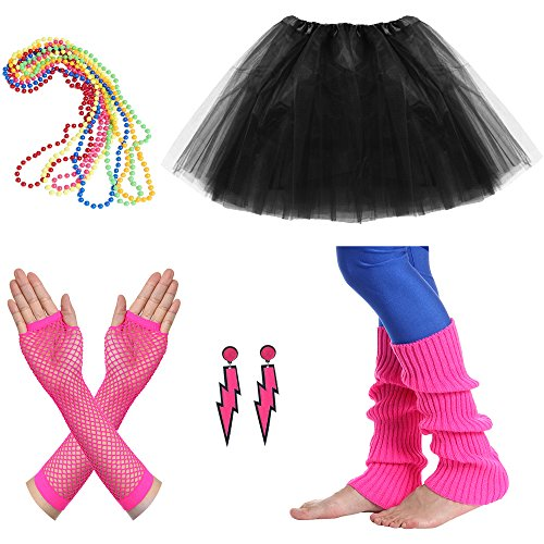 JustinCostume Women's 80s Outfit Accessories Neon Earrings Leg Warmers Gloves (T) -