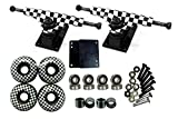 "esKape 5"" Truck/52mm Wheels Complete Skateboard Parts Set (Checkered White, 52mm)"