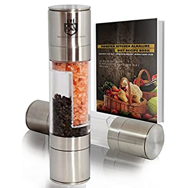 Monster Kitchen 2in1 Salt and Pepper Grinder Set for Professional Chef | Best Improved Stainless Steel Salt and Pepper Mill with Adjustable Coarseness | 100% Money Back Guarantee | FREE VIP Membership