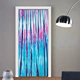 Gzhihine custom made 3d door stickers Tie Dye Decor Close Up Vertical Gradient Tie Dye Figures Hippie Alter Life Retro Artwork Blue Pink For Room Decor 30x79