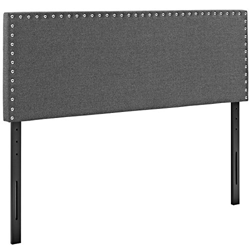 (Modway Phoebe Linen Fabric Upholstered King Headboard in Gray with Nailhead)