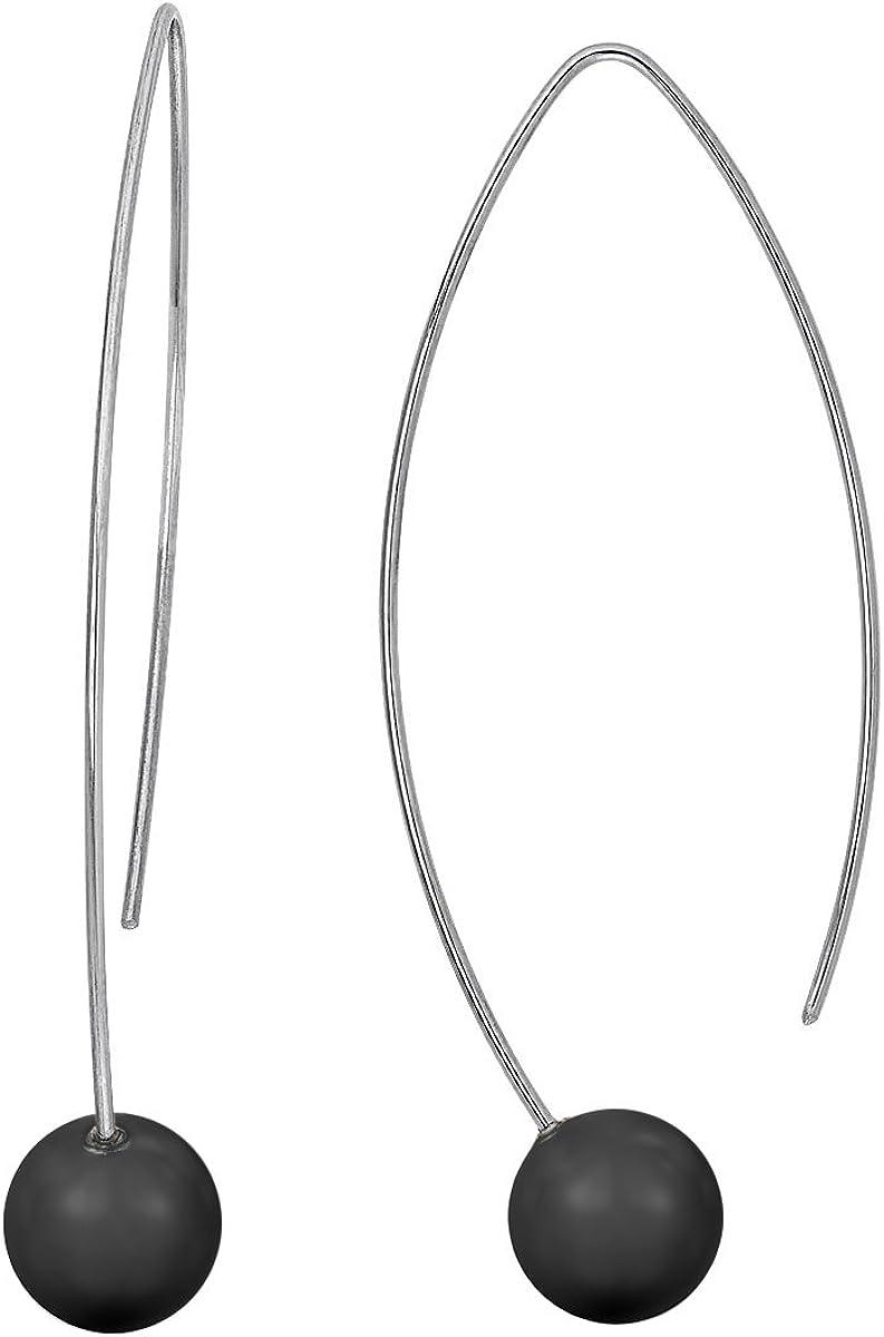 Heideman pendientes mujer de acero inoxidable color plata 925 mate Pendientes largos con joyería