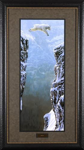FAITH by Patrick Lundquist 18x40 Mountain Goat Jumping Leap Of Faith FRAMED ART
