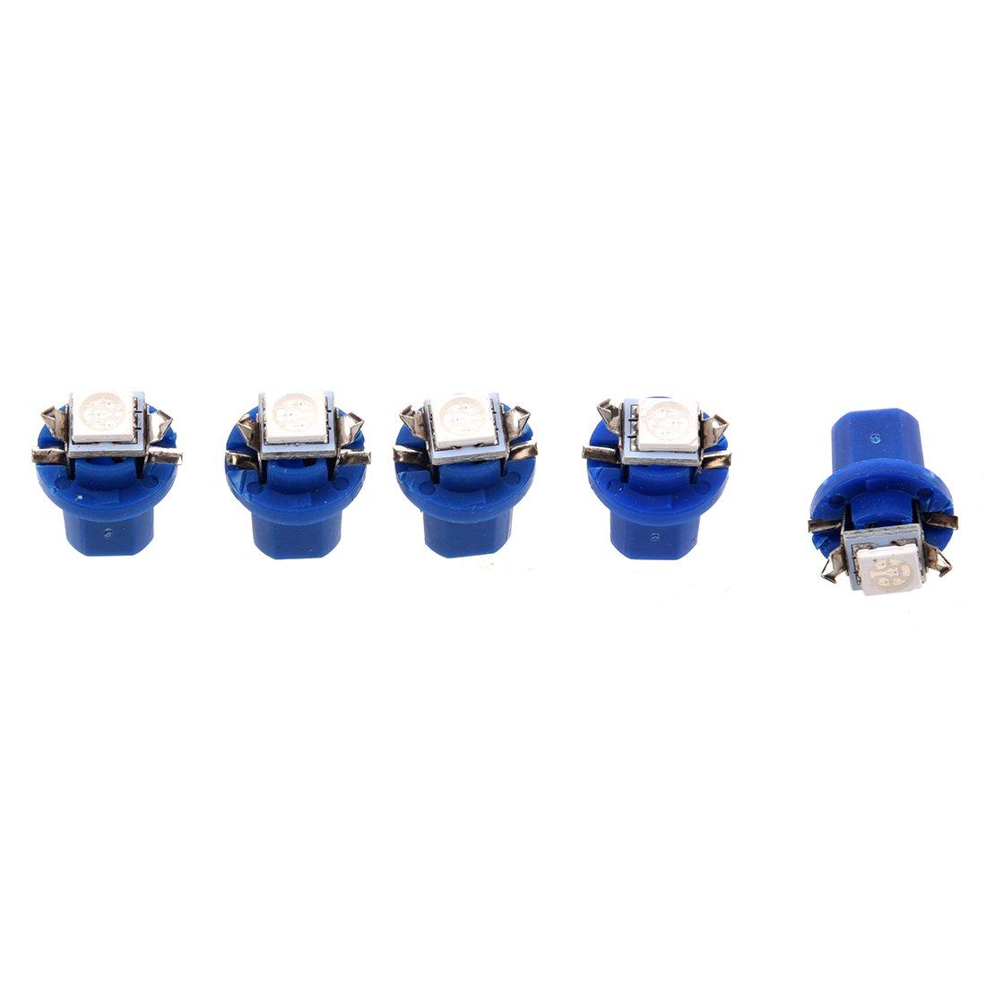 TOOGOO(R)5X T5 B8.5D 5050 SMD Coche LED Luz indicadora Calibre Cuentamillas Cuadro de instrumentos lateral Lampara Bombilla (Azul) 052660