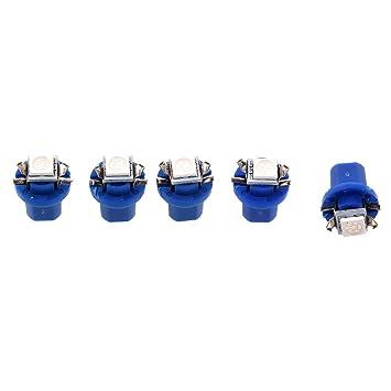 Cikuso 5X T5 B8.5D 5050 SMD Coche LED Luz indicadora Calibre Cuentamillas Cuadro de Instrumentos Lateral Lampara Bombilla (Azul): Amazon.es: Coche y moto