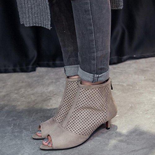 Peep Cutout Ankle Western Booties Kitten Women Ankle Heel RAZAMAZA Sandals Apricot Toe 5OwR4nq