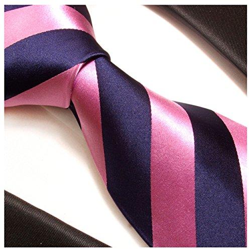 Cravate homme rose bleu rayée 100% soie