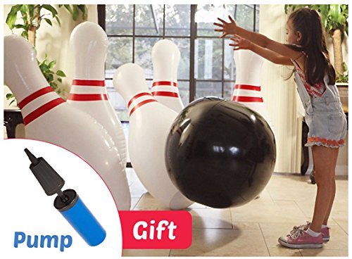 THE BIGGEST! Strikes and Spare Human sized inflatable bowling game. 42 inch tall pins 25 inch ball. PUMP INCLUDED. Pins include Premium Stability Base water chambers
