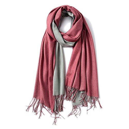 MaaMgic Womens Super Soft Cashmere Feel Pashminas Large Winter Shawl Wraps Two-Tone Blanket Scarf Stoles Warm Shawls for Wedding Party