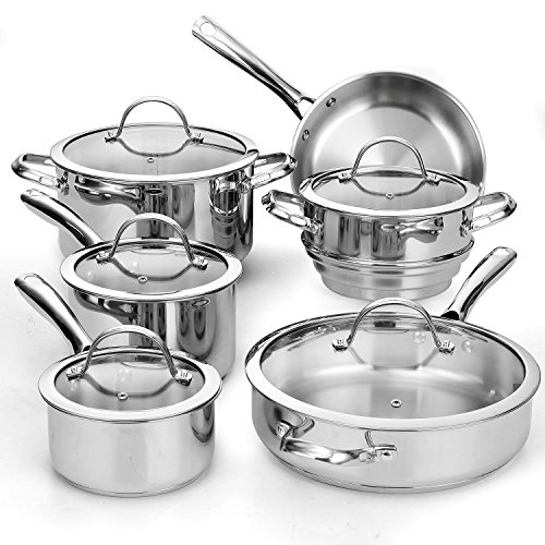 Cooks Standard 11-Piece Classic Stainless Steel Cookware Set Burnt Stainless Steel Pot