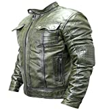 Perrini New Mens Genuine Sheep Skin Leather Fashion Jacket Green 2 buttoned chest Pocket (L)