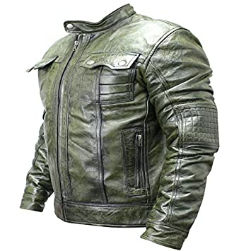 Perrini New Mens Genuine Sheep Skin Leather Fashion Jacket Green 2 buttoned chest Pocket (XL