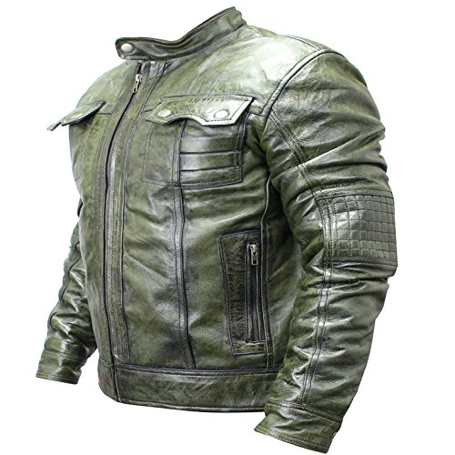 Perrini New Mens Genuine Sheep Skin Leather Fashion Jacket Green 2 buttoned chest Pocket (Buttoned Leather)