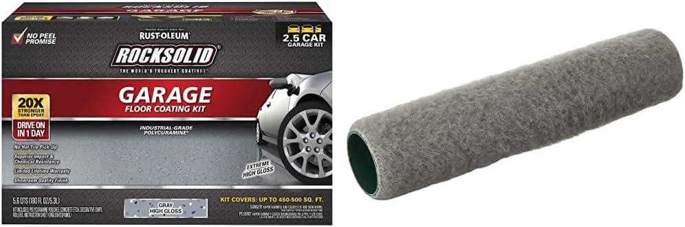 Rust-Oleum 293513 Rocksolid Polycuramine Garage Floor Coating, 2.5 Car Kit, Gray & Wooster Brush R232-9 Epoxy Glide Roller Cover, 1/4-Inch Nap, 9-Inch