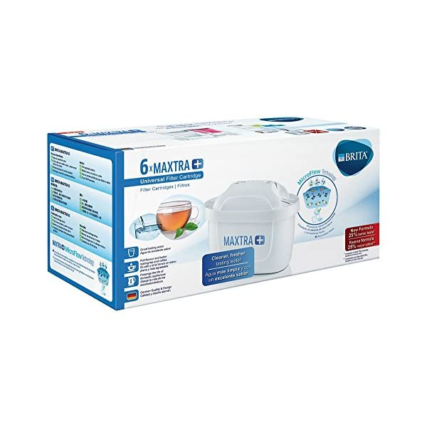 BRITA MAXTRA+ – 6 filtros para el agua – Cartuchos de filtrado para el agua – Recambios compatibles con jarras BRITA que reducen la cal y el cloro 51OdSyLJQdL