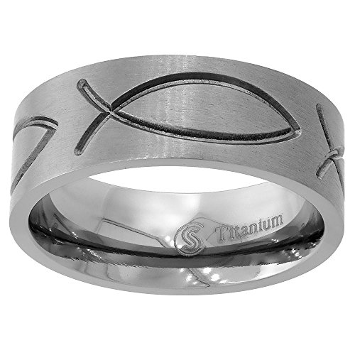 Titanium Wedding Christian Ichthys Comfort