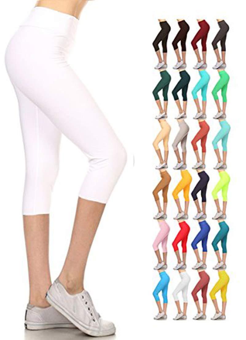 Leggings Depot Women's Yoga Gym High Waist Reg/Plus Solid and Printed Workout Capri Leggings Pants 16+Colors (White, Plus Size (Size L-2X / Size 12-20))
